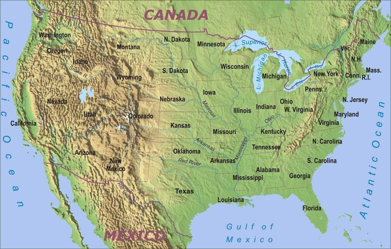 Harta Geografică A Sua Harta Geografică Statele Unite Ale